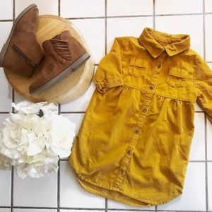 Mustard Corduroy Dress with Buttons and Collar